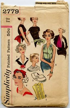 1950s Accessory Pattern Simplicity 2779 Neckwear by GreyDogVintage, $40.00