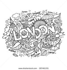 London hand lettering and doodles elements background. Vector illustration
