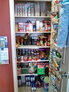 Small pantry organization: $1 baskets, $6 can step shelves, $5 bah holder, $5 hanging shoe organizer