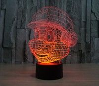 Wish | Innovation Design Super Mario Colorful 3D Lamp LED Light Touch Switch Visual Acrylic Table Desk Lamp Nightlight (7 Colors for Switch) (Color: Black)