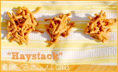 Haystack Butterscotch No-Bake Cookies on MyRecipeMagic.com -- butterscotch, chocolate chips, and peanut butter...perfection!