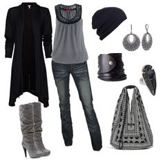 """""""grey and black"""" by avalonia on Polyvore"""