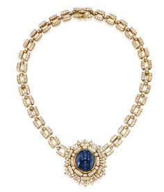Lot 366 - 18 Karat Gold, Sapphire and Diamond Necklace