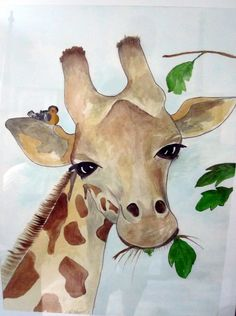 Watercolor painting of an African Girrafe. By Brenda Mayall