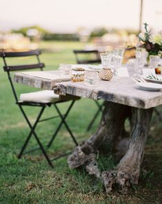 Inside or out, what a fabulous rustic table (to DIY?) begging for dinner parties and memories.