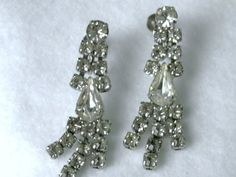 Vintage Clear Rhinestone Fancy Dangles for sale by dazzledbyvintage