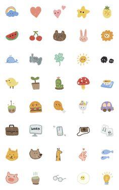 KHUNREYUMMII – LINE อิโมจิ | LINE STORE Cute Small Drawings, Mini Drawings, Kawaii Drawings, Doodle Drawings, Easy Drawings, Doodle Art, Stickers Kawaii, Cute Stickers, Printable Stickers