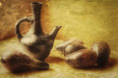 Still life with avocado and kettle