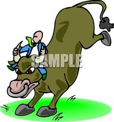 Man Taking The Bull By the Horns - Royalty Free Clipart Picture