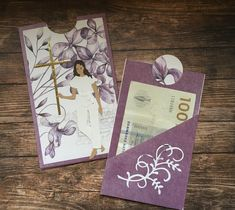 Pia Jensen kort - By Lene, konfirmation Confirmation Cards, Card Holder, Scrapbooking, Money, Simple, Gifts, Diy, Cards, Rolodex