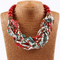 Women Resin Cluster Statement Red Beads Chain Choker Necklace Hook Earring Set #Qiyun #Bib