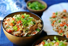 uliflower, chopped into florets 1 small yellow onion, finely chopped 1/2 cup frozen peas 1/2 cup carrots, cubed 2 eggs, beaten 1 Tbsp sesame oil 1/4 cup low sodium soy sauce 1 Tbsp light brown sugar 1/8 tsp. ground ginger Pinch red pepper flakes 2 Tbsp green onions, choppe