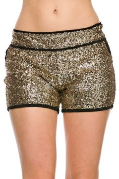 gold & black sequin shorts - Roe Boulevard