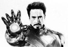 Desenho a lapis Homem de ferro, Tony Stark, Robert Downey Jr / pencil traditional drawing