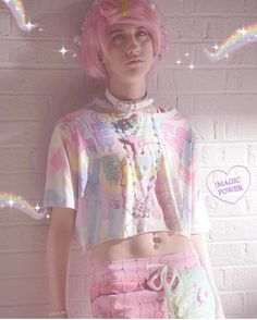 Pastel Goth Makeup, Pastel Goth Outfits, Pastel Goth Fashion, Kawaii Fashion, Colorful Fashion, Cute Fashion, Kawaii Clothes, Goth Clothes, Cute Emo Boys