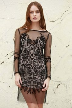 See-Through Long Sleeves Mesh Lace Dress - BLACK ONE SIZE(FIT SIZE XS TO M)
