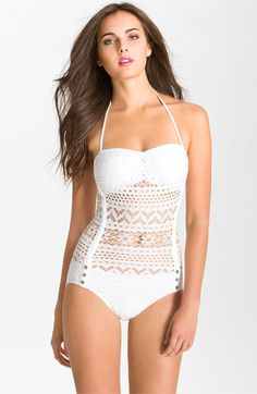 Robin Piccone 'Penelope' Crochet Overlay One Piece Swimsuit available at Nordstrom....Bridal Swimsuit??