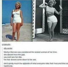 And she doesn't have the flat belly. She has a normal, round belly which today most would comment on fat (Marilyn Monroe Beauty Quotes) >>>>> she looks more beautiful than half the popular girls these days and we all see it Charmer Une Femme, Faith In Humanity Restored, Nerd Humor, Equal Rights, Human Rights, Girl Power, Equality, Fun Facts, Crazy Facts