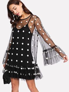 Exaggerate Flounce Sleeve Polka Mesh Overlay Dress -SheIn(Sheinside)