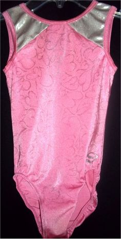 Dreamlight Girls Dance Gymnastics Leotard Pink Silver Hearts Jazz M CM 8 9 10