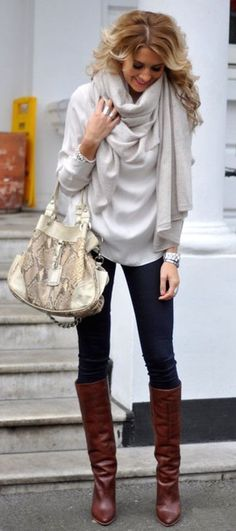 #fall #fashion / gray + gray + leather boots