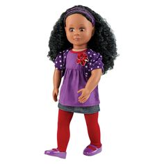 "Our Generation 18/"" Ballet Doll Nia Regular Plastic Sweet Rich Black Hair Eyes"