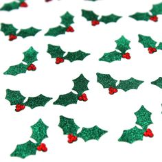 Green Holly Christmas Glitter Stickers