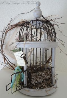 A {tiny} Cottage In The Woods: Spring Birdcage Birdhouse