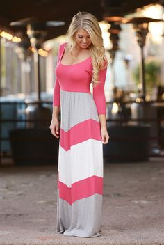 Best Wishes Color Block Maxi Dress - Coral