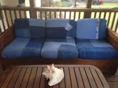 Covers for my porch sofa made from old blue jeans