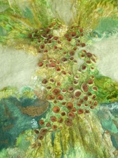 My interpretation of the photograph - Lichen. Shibori Felted Artwork. www.artandtextiles.com
