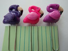 Flamingo Planner Polymer Clay Paperclip Set. So cute - available on Under An English Sky's Etsy shop.