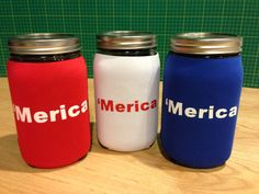 'MERICA Red, White, Blue custom printed quart size mason jar koozies. A perfect gift idea get yours today at www.jar-z.com