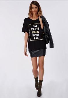 Slogan Biggie T Shirt Black - Tops - T Shirts - Missguided