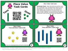 FREE Place Value Task Cards: Here are 6 place value task cards to help your 1st grade students practice tens and ones place value. Students will love the immediate feedback with the QR code on each place value task card!  https://www.teacherspayteachers.com/Product/Place-Value-Task-Cards-1st-Grade-Math-Games-QR-Codes-FREE-Download-1527053