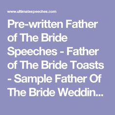 Father Of The Bride Speech  Bride Speech Examples Bride Speech