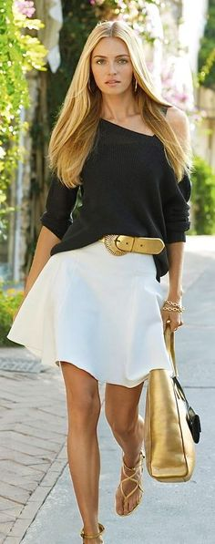 Black, White & Gold - White Flare Skirt, Black Oversized Sweater, Gold Shoe, belt, sandals and jewelry