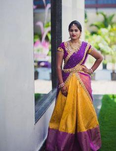 23 best Ideas for wedding indian wear jewellery Indian Wedding Gowns, Indian Gowns Dresses, Saree Wedding, Indian Outfits, Telugu Wedding, Indian Clothes, Indian Bridal, Wedding Dresses, Half Saree Lehenga