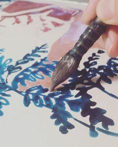 Drawing by Slowgarden / Pour toi 🌿 @tinetti_julie #workinprogress #peinture #peindre #dessiner #feuillage #croquis