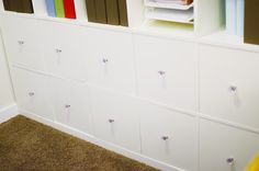 Make your own cubby inserts for the IKEA expedit bookcase with MDF.
