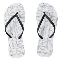 d19063427f Abstract geometric pattern with color dots flip flops