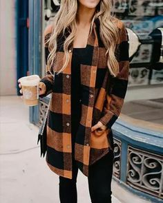 Turn-down Collar Orange Plaid Shirt Coat Fall Fashion Outfits, Casual Fall Outfits, Mode Outfits, Fall Winter Outfits, Autumn Winter Fashion, Fall Fashions, Women's Fall Fashion, Cute Outfits For Fall, Comfortable Fall Outfits