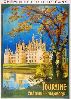 1930s Chateau de Chambord France French European Travel Art Poster Advertisement in European | eBay