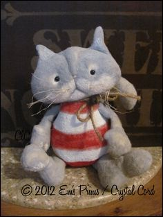 Primitive Christmas Candy Cane Cat Doll Country Decor by emsprims, $19.00