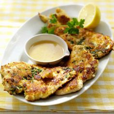Parmesan-Crusted Chicken: This recipe was contributed by Everyday Food reader Lorraine Radke of Sacramento, California. Breaded Chicken Cutlets, Parmesan Crusted Chicken, Parm Chicken, Chicken Garden, Chicken Tenders, Lemon Chicken, Chicken Breasts, Martha Stewart Recipes, Think Food