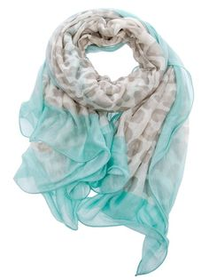 Mint print scarf from Valentino featuring a cream leopard pattern, a solid block mint edge and a cream designed embossed print. :) M
