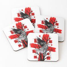 'Crow' Coasters by Lion Mane, Black Tree, Tree Silhouette, Crow, Lions, Coasters, Grunge, My Arts, Art Prints