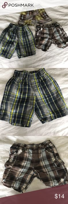 Lot of three boys shorts size 18 months Lot of three boys plaid shorts blue and green plaid 18 months from koala kids. Brown and blue plaid shorts 18 months Calvin Klein jeans. Blue brownand green plaid 12 through 18 months Gymboree. All in amazing condition. Bottoms Shorts