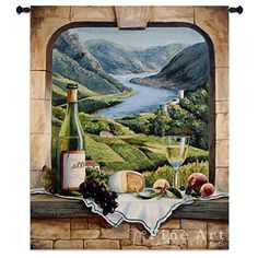 If you love wine themed Wall Tapestry Hangings then you will love this.  I have this in my wine bar area and it gets compliments galore.  This is adorable.      Rhine Wine Moment Wall Tapestry