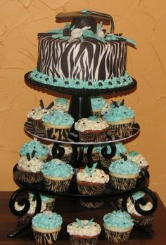 Zebra Graduation Cake Tower By cuppycakes78 on CakeCentral.com